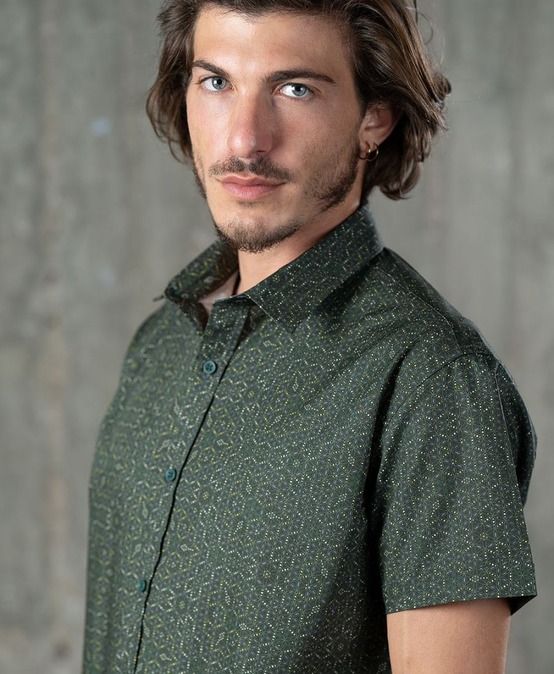 seed of life button up shirt for men short sleeve