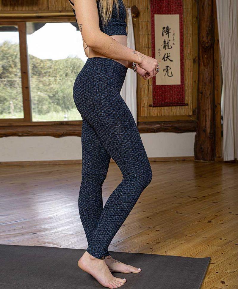 long cotton yoga leggings seed of life sacred geometry print