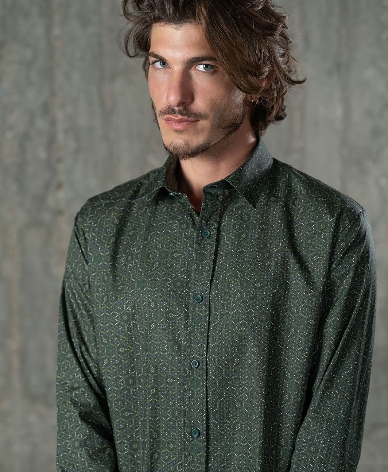 Seed of life button up shirt long sleeve men button down