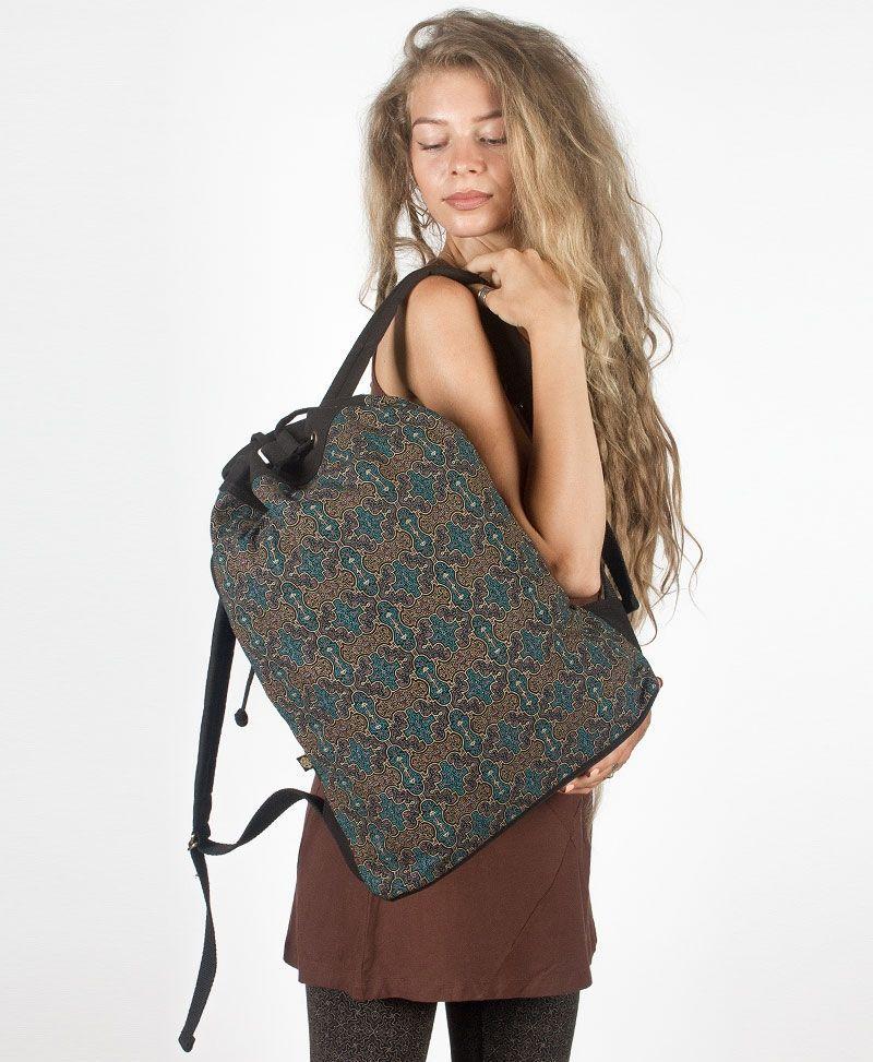 psy trance festival drawstring backpack canvas sack bag shipibo