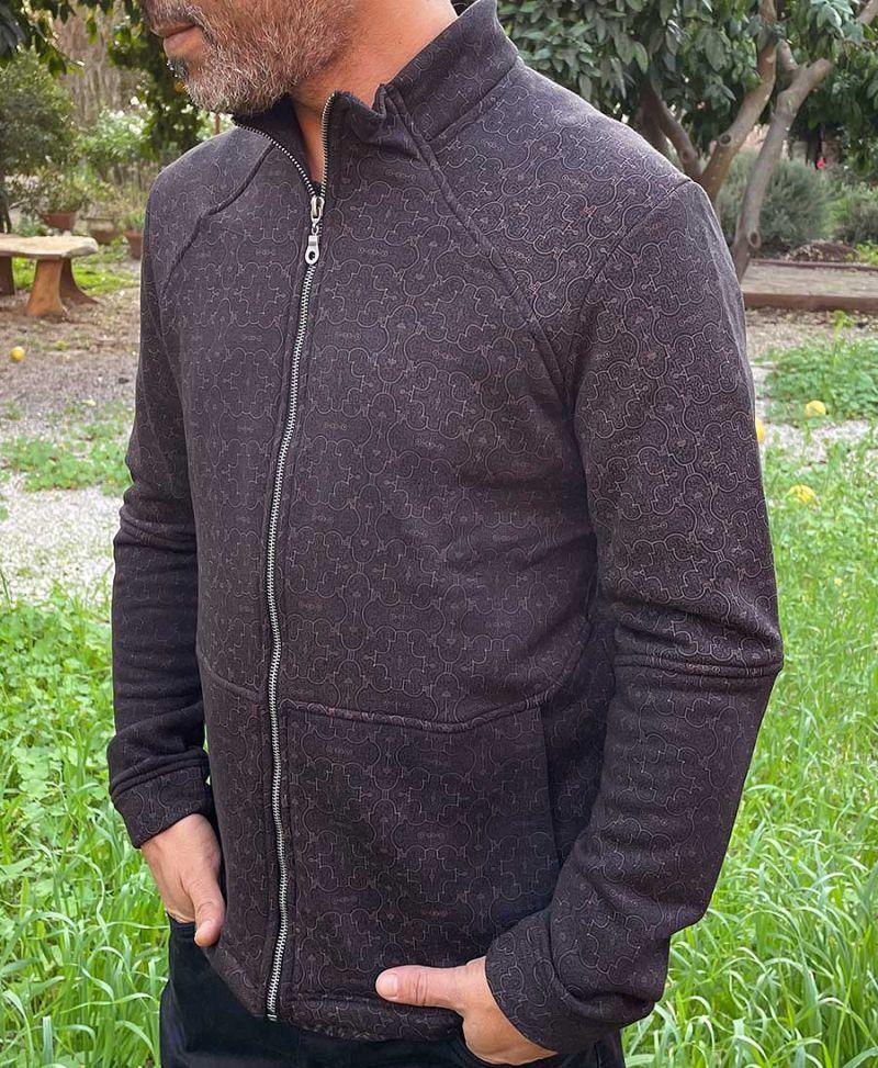 on sale shipibo jacket with zipper black cotton tribal clothing men