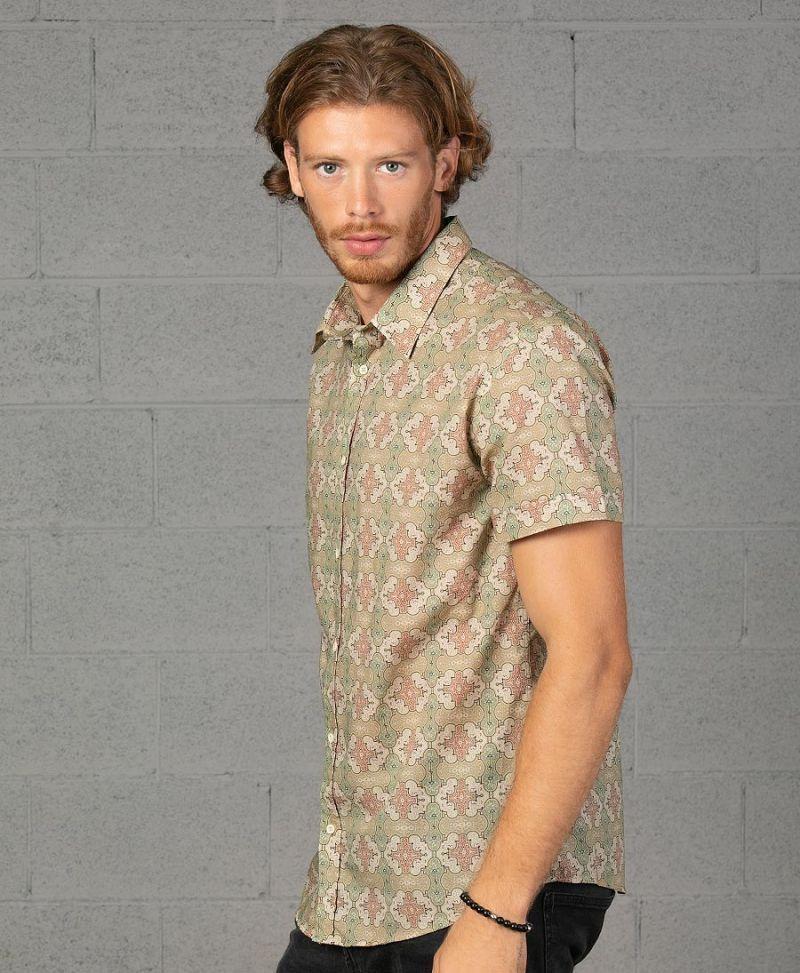 shipibo button down men shirt