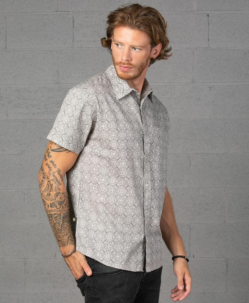 square and circle mens button up shirt psytrance fashion