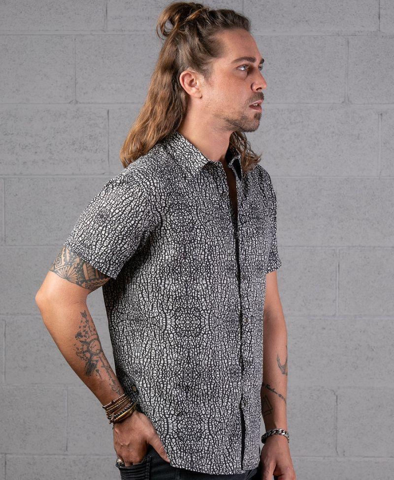 full print men button up shirt urban clothing