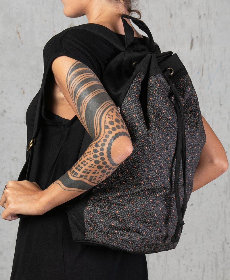 tribal bag drawstring backpack canvas vegan