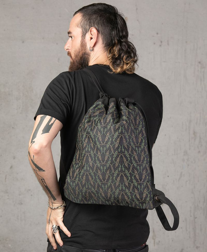 tribal print drawstring backpack canvas sack bag festival bags
