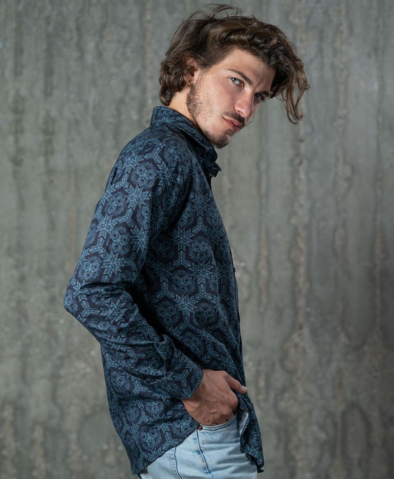 psychedelic men button up shirt blue trippy clothes