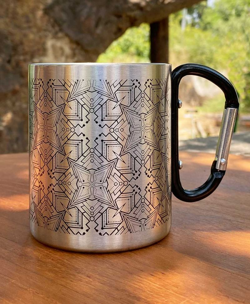 Psychedelic Stainless Steel Travel Mug With Clip Handle