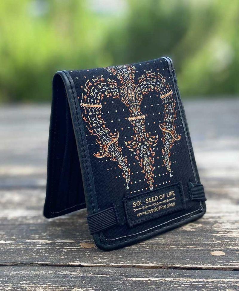 Trishul Men Bifold Wallet Vegan Canvas Trippy Gift For Boyfriend