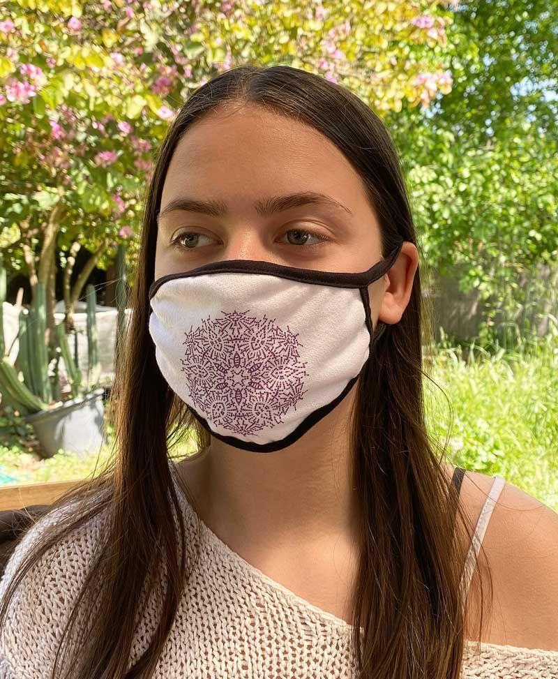 tribal white face mask women