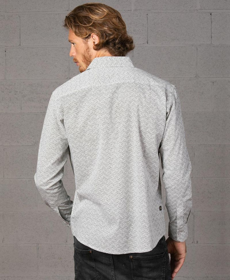 long sleeve button down men shirt white atom print