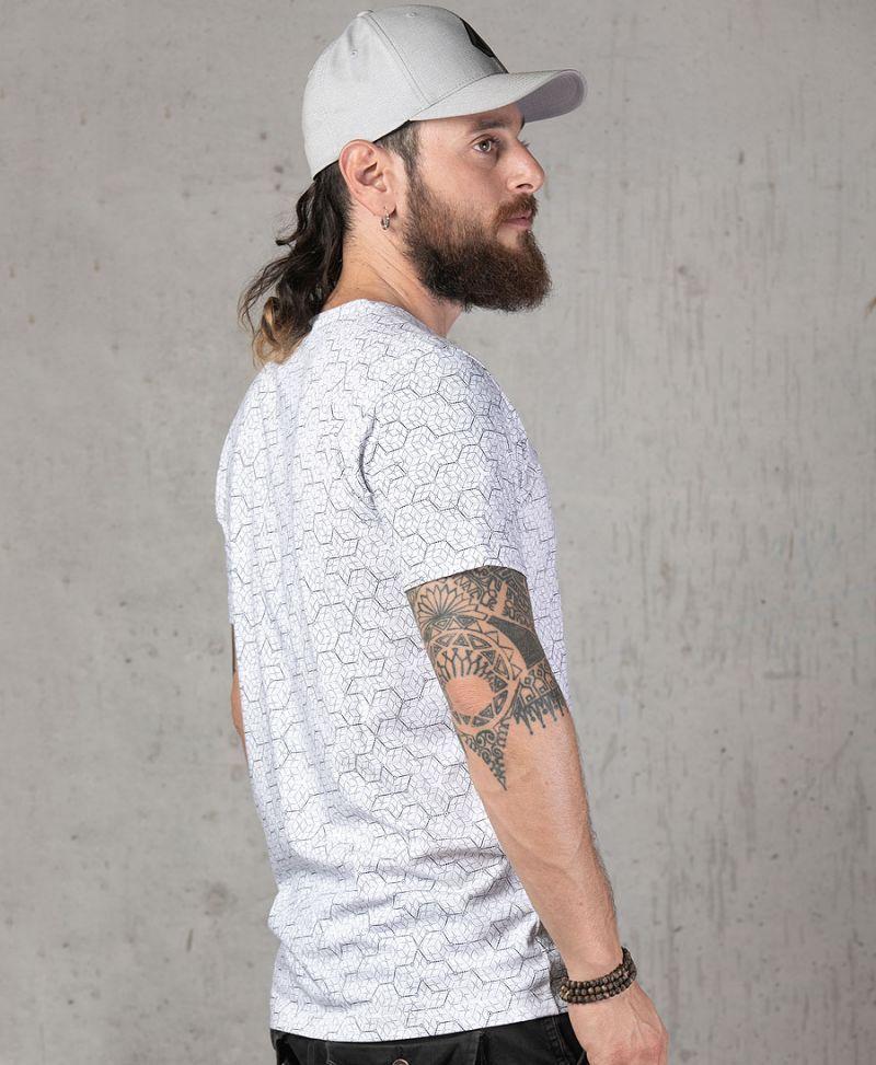 men white t shirt hexagon geo full print urban streetwear
