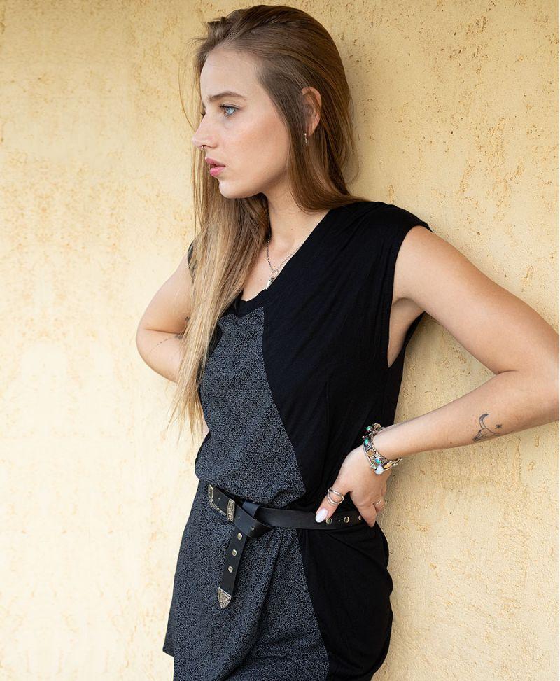 women boho chic summer dress short black tunic