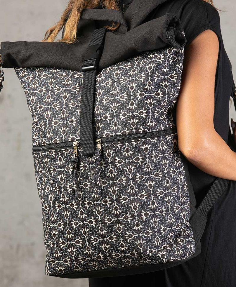roll top backpack large black travel bags hamsa print