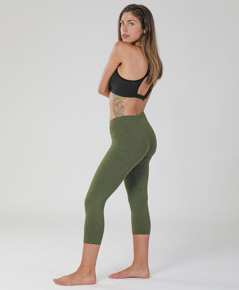 psychedelic clothing women yoga leggings tights seed of life olive