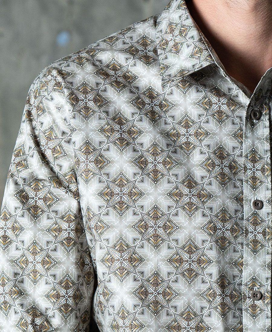 Squarcle Button Shirt- Long Sleeve