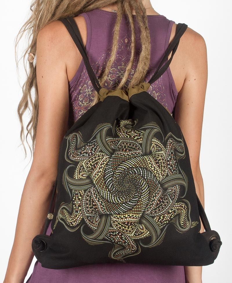 Vortex Drawstring Backpack ➟ Black & Khaki