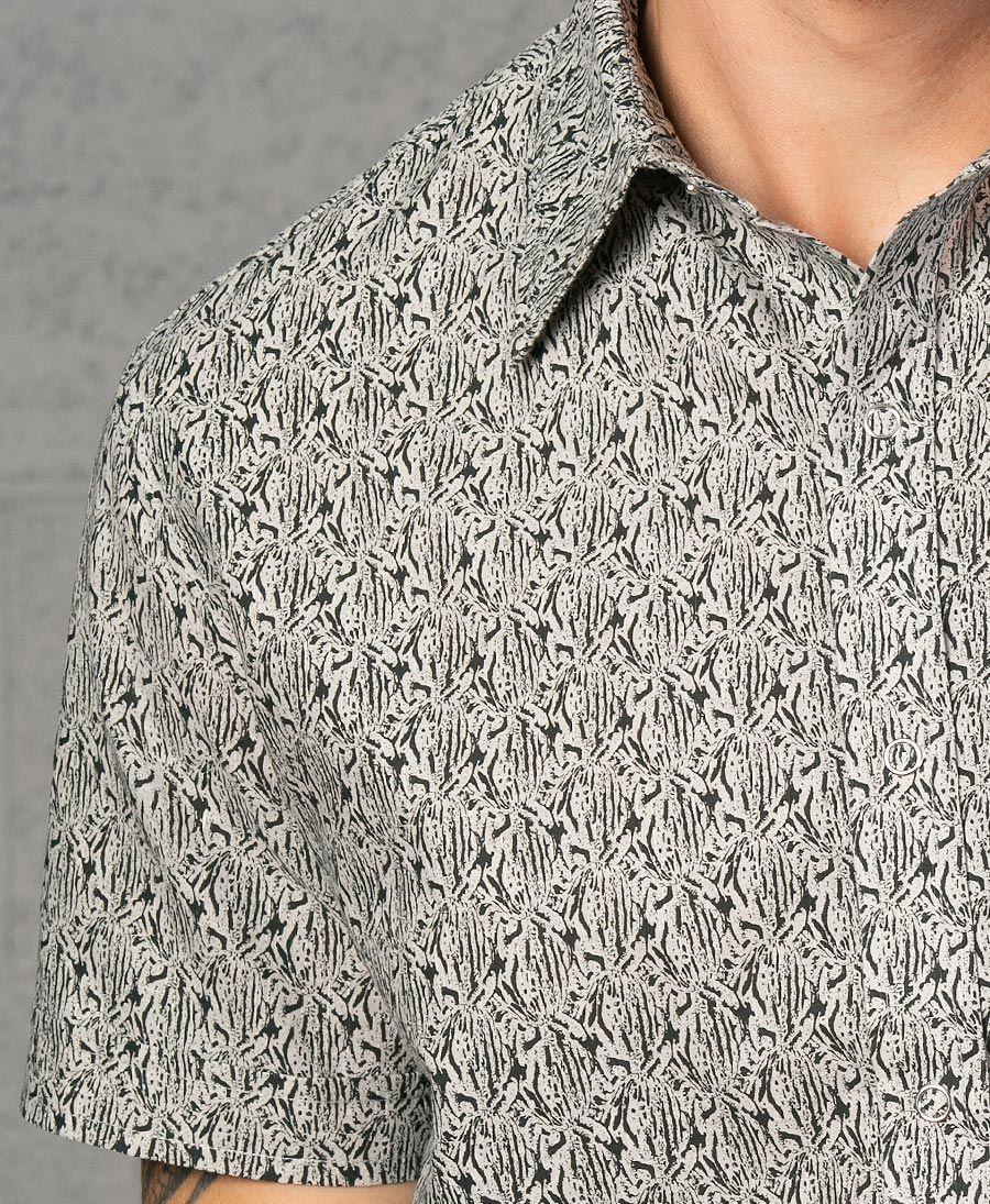 Peach Button Shirt ➟ Grey