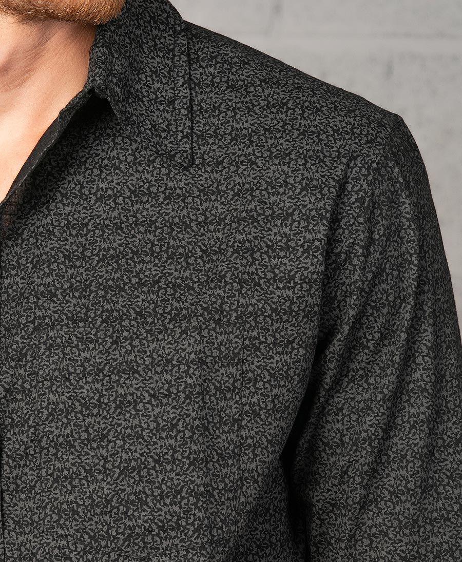 Rudraksha Long Button Shirt ➟ Black