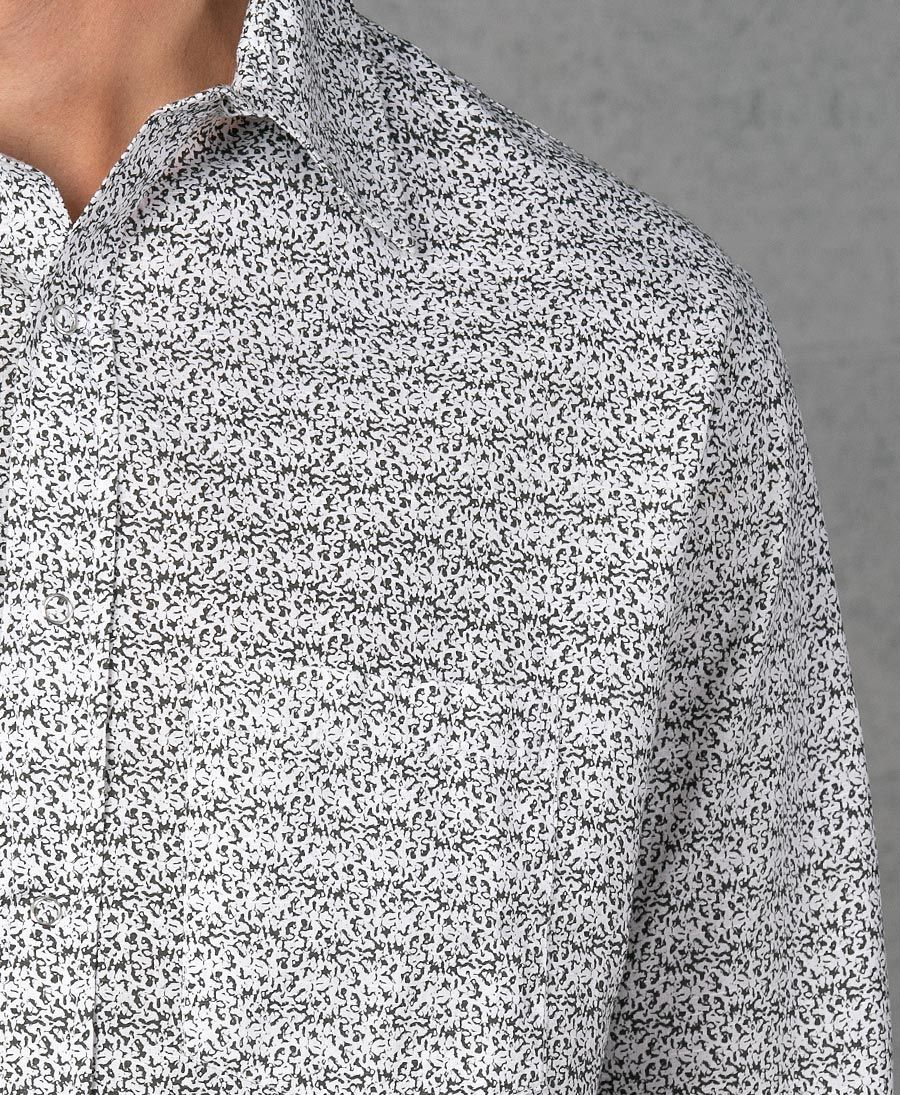 Rudraksha Long Button Shirt ➟ White