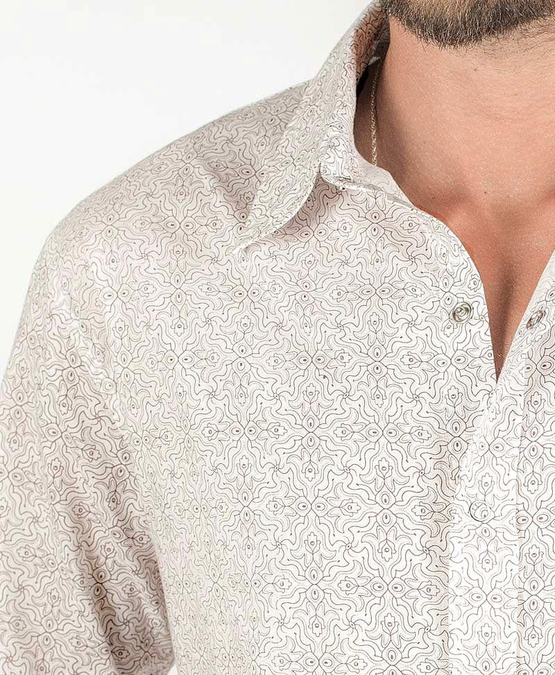 Hamsa Long Button Shirt ➟ White