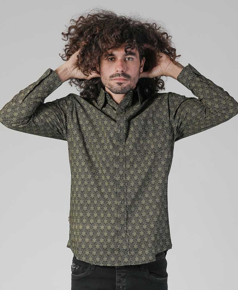 Kubic Long Button Shirt ➟ Black