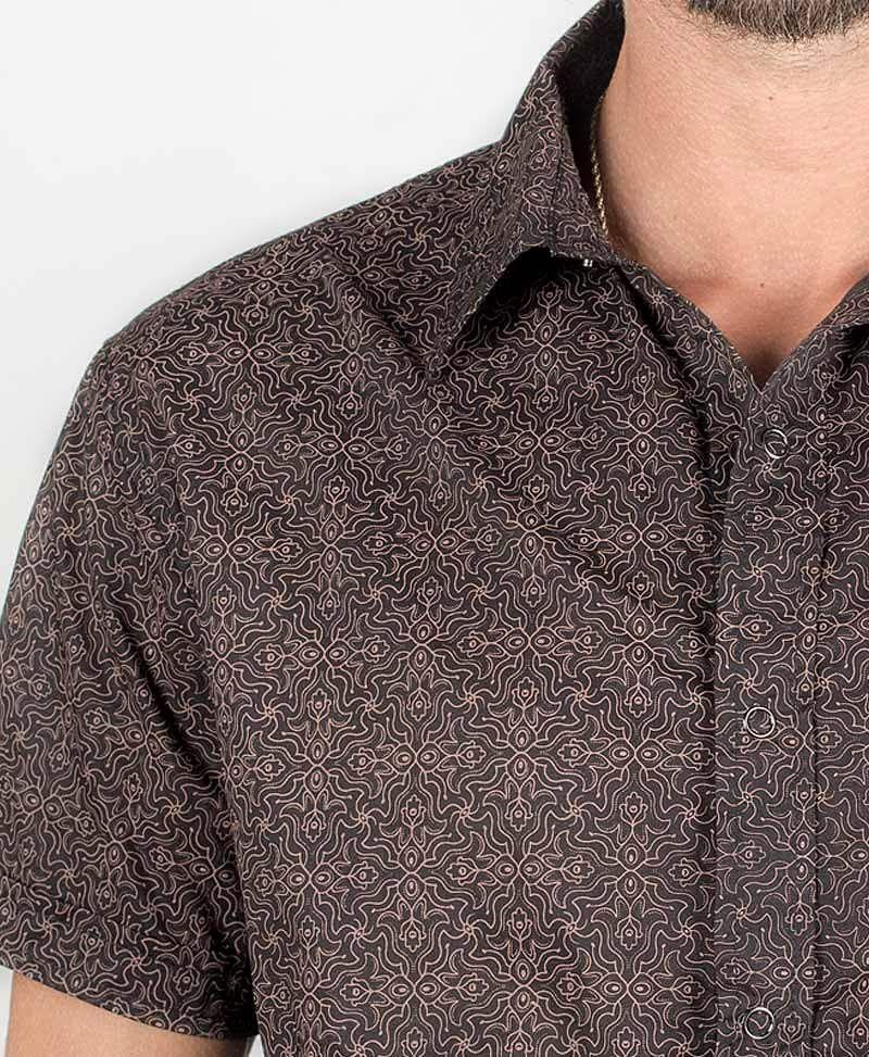 Hamsa Button Shirt ➟ Black