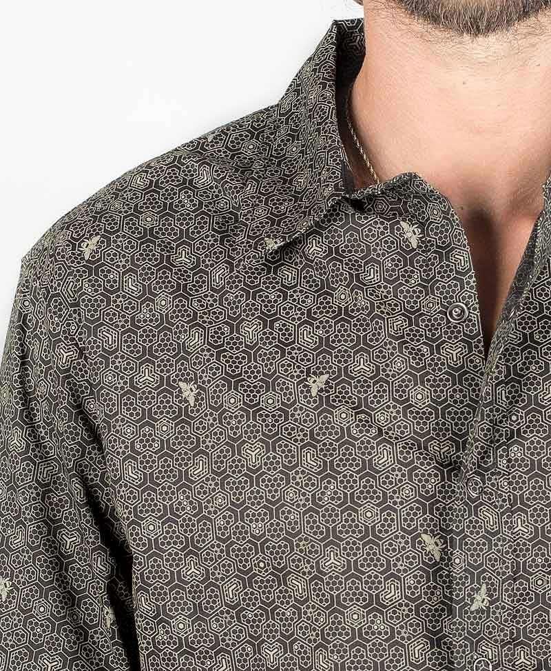 Beez Long Button Shirt ➟ Black