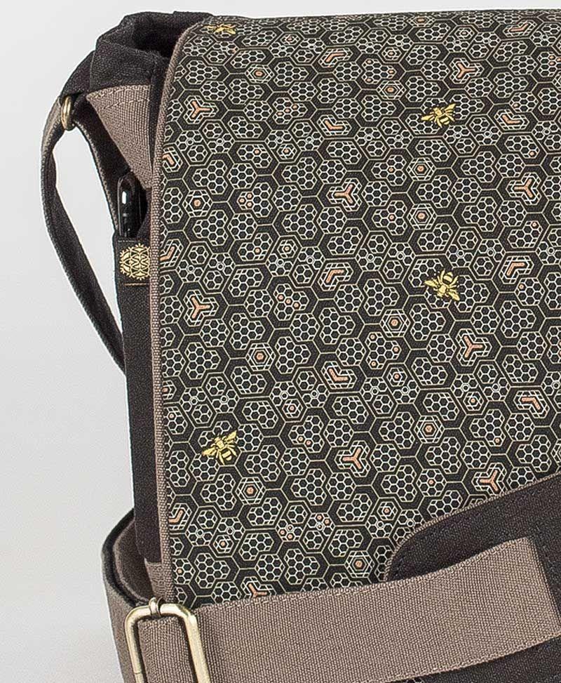 Bees Messenger Bag | Grey