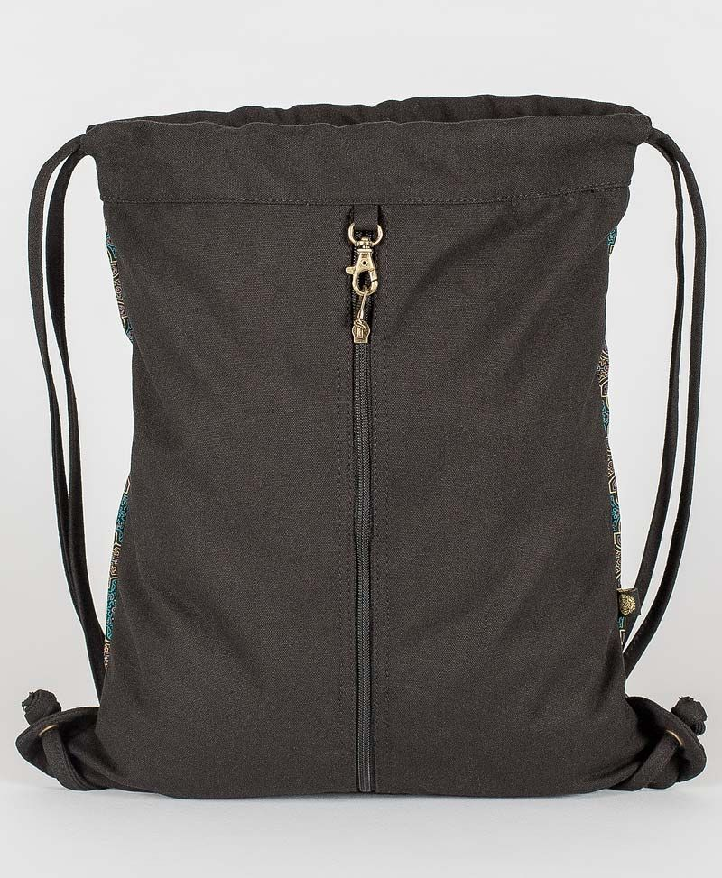 Shipibo Kené Drawstring Backpack ➟ Black