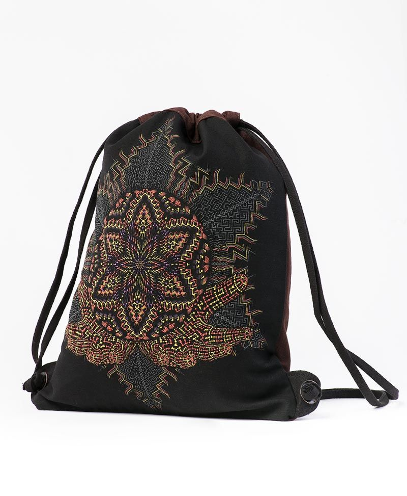 Anahata Drawstring Backpack ➟ Black & Brown