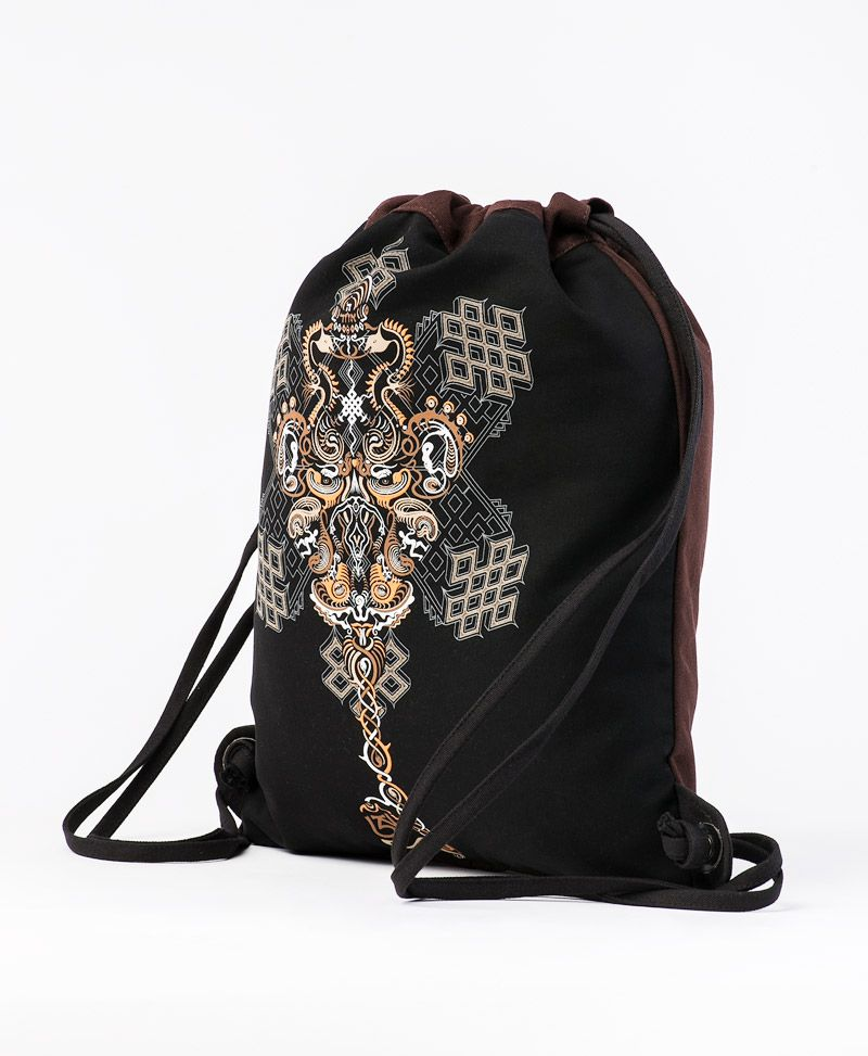 Om On Key Drawstring Backpack ➟ Black & Brown