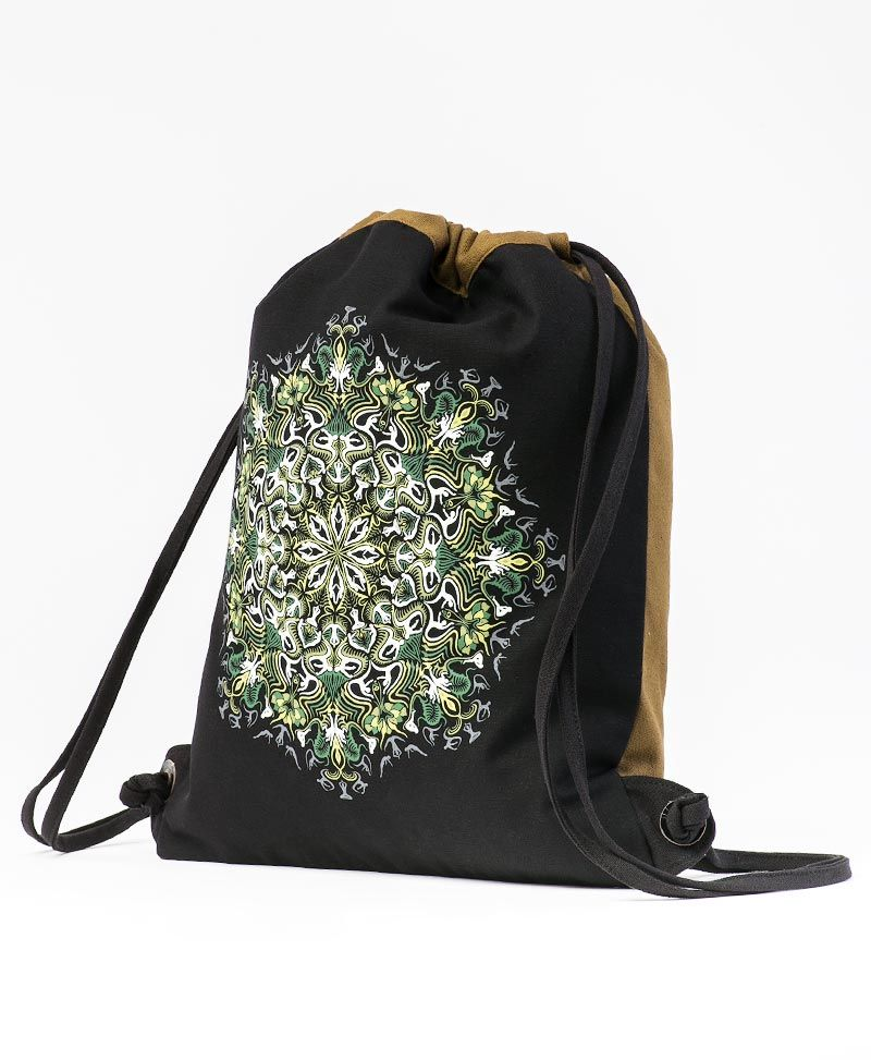 Lotusika Drawstring Backpack ➟ Black & Khaki