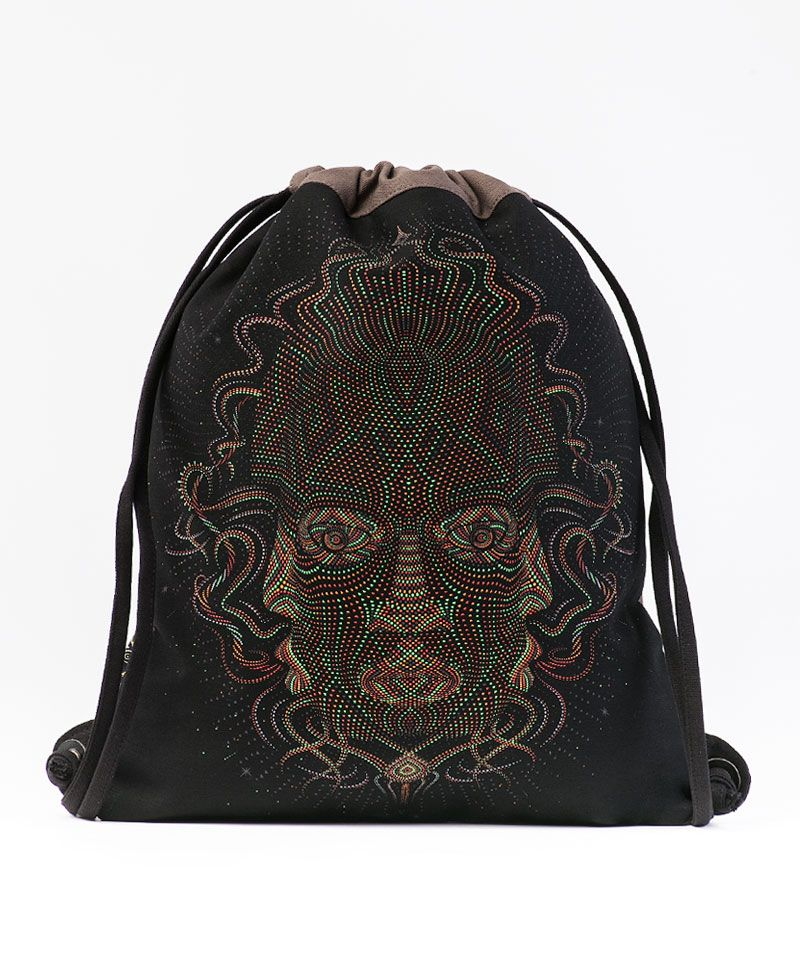 Trimurti Drawstring Backpack ➟ Black & Grey