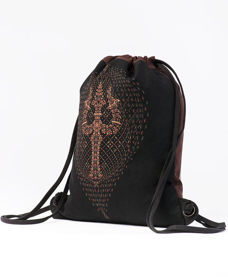 Brown /& Black Drawstring Bag
