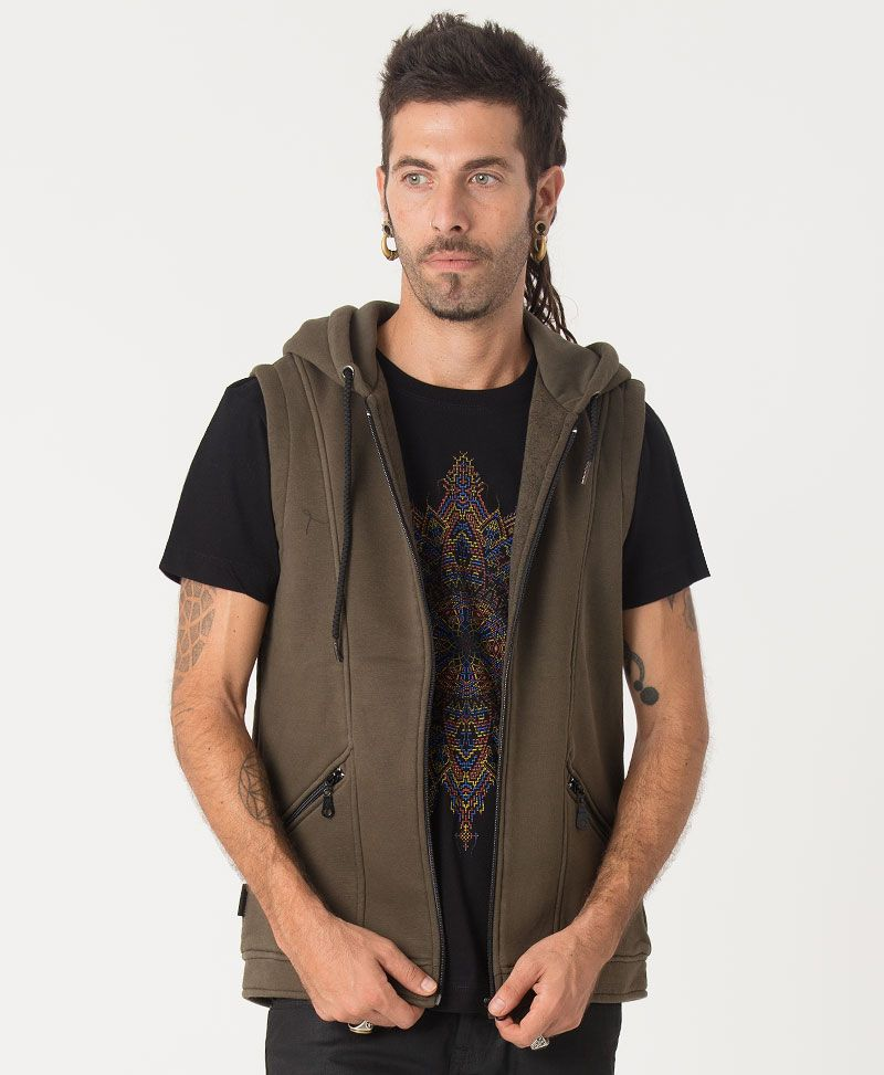 Mexica Hooded Vest ➟ Olive