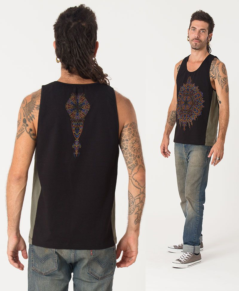 Mexica Tank Top ➟ Green + Black