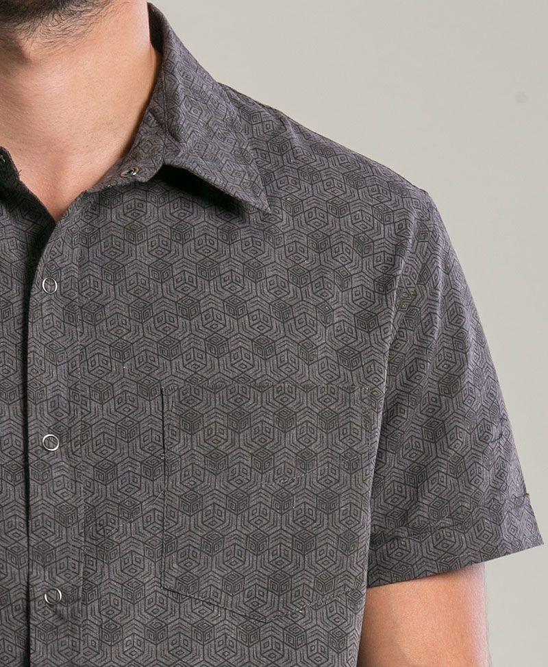 Kubic Button Shirt ➟ Dark Grey