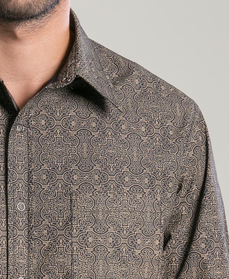 Shipibo Kené Long Button Shirt ➟ Black