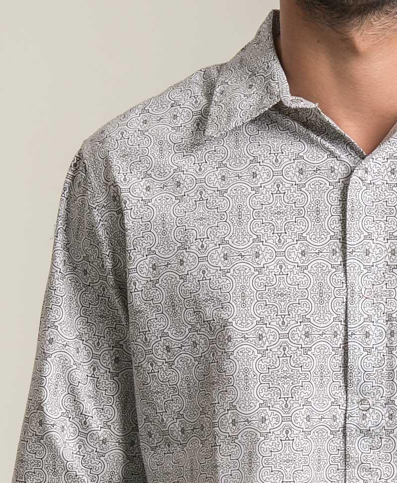 Shipibo Kené Long Button Shirt ➟ White