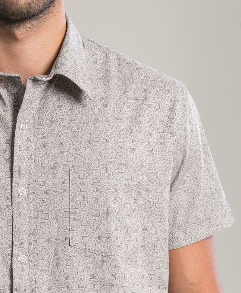 Shipibo Kené Button Shirt ➟ Light Grey