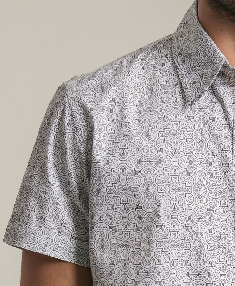 Shipibo Kené Button Shirt ➟ White