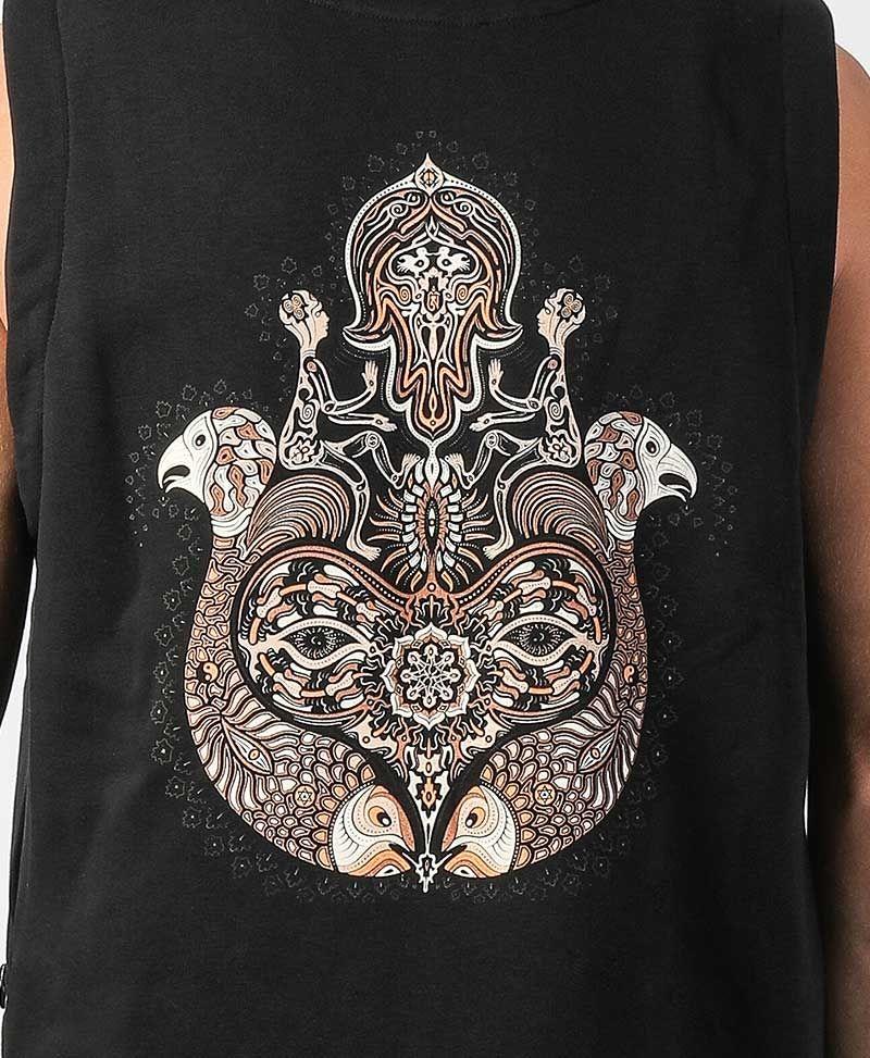 Hamsa Hooded Vest ➟ Black