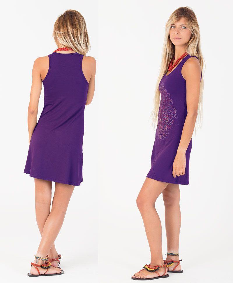 TriMurti Tunic Dress ➟ Purple / Blue / Red