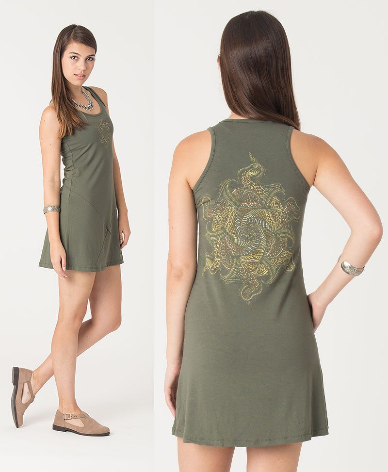 Vortex Tunic Dress ➟ Black / Grey / Green
