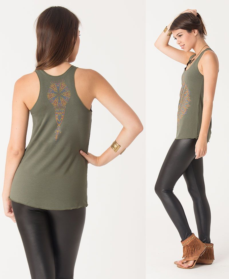 Mexica Top ➟ Black / Grey / Green