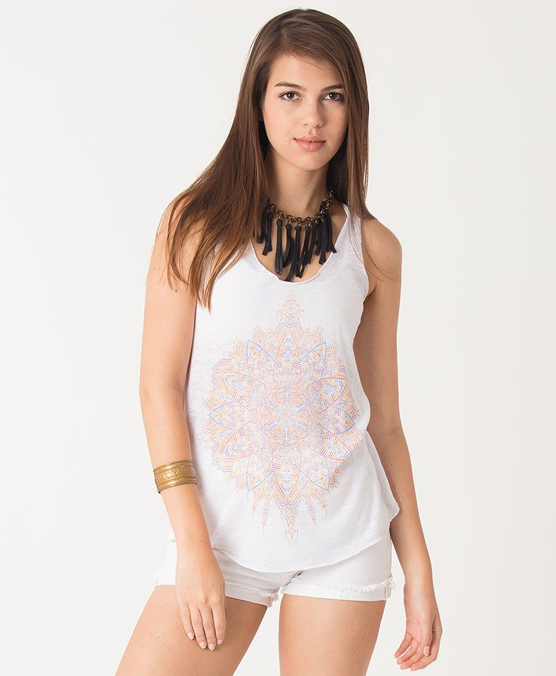 Mexica Burnout Top ➟ Black / White