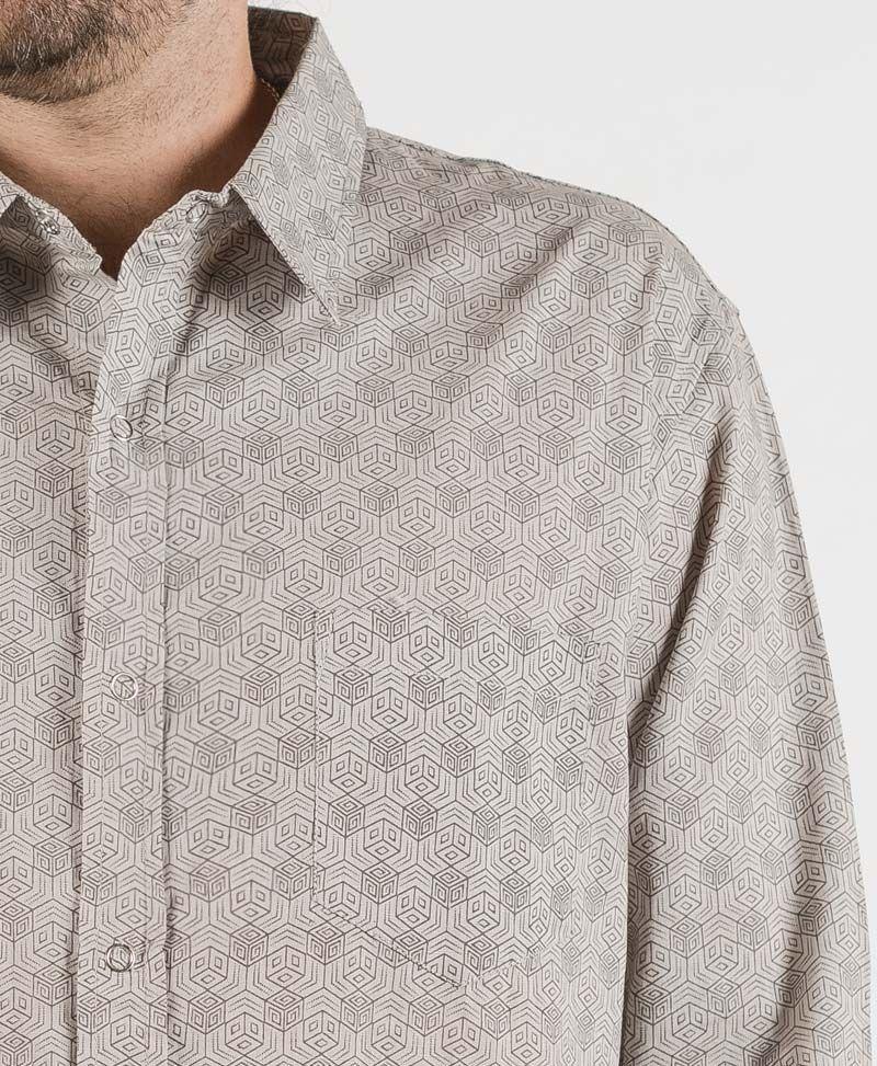 Kubic Long Button Shirt ➟ Light Grey