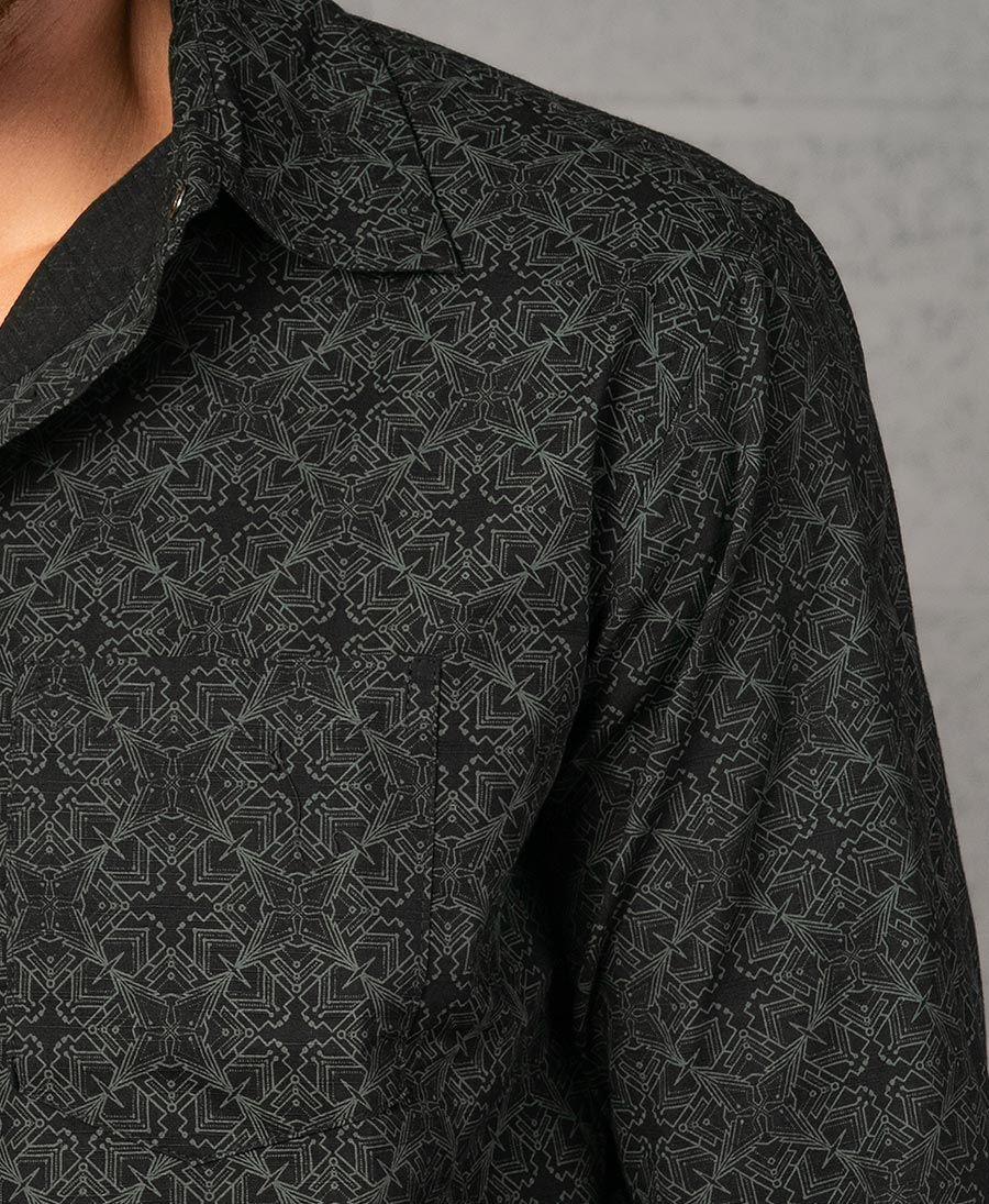 Squarcle Long Button Shirt ➟ Black