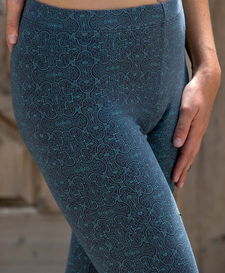 Shipibo Kené Leggings / Full Length - Blue
